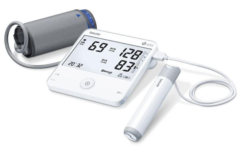 tensiometre avec un instrument ECG , cet appareil combine la masure de la pression artérielle avec la mesure de la fréquence cardiaque